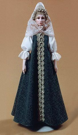 Marfa    ÐMarfa's costume is an ethnographically exact ceremonial costume of a newly wed peasant woman, traditional for Toropets region, Pskov Province (late 18-th - early 19-th century).    Biscuit porcelain, silk, hand embroidery, hand painting. Hand knitted laces.  By Alexandra Koukinova