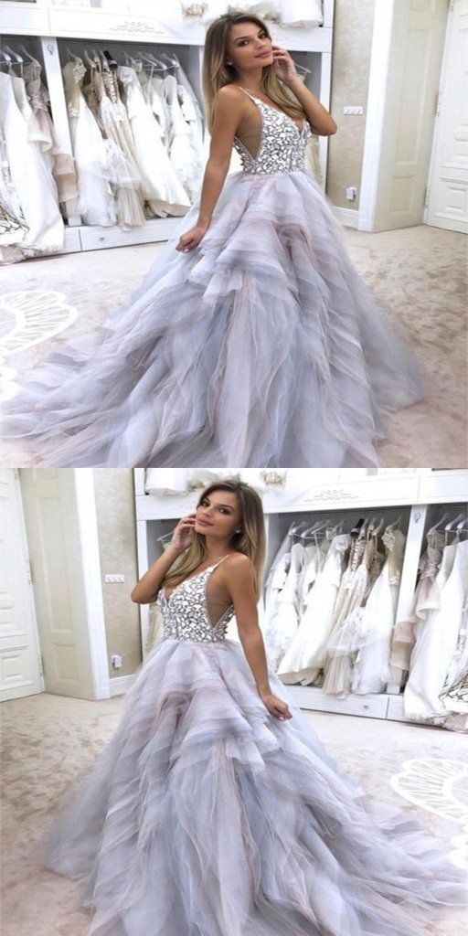 bdcd73074d8 Gorgeous A-Line Spaghetti Straps V-Neck Tulle Rhinestone Wedding Dress –  VeryProm