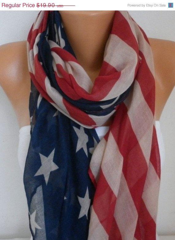 American Flag Scarf American Scarf Cotton Star Scarf by fatwoman