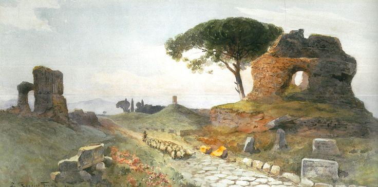 Ettore Roesler Franz - La Via Appia al V miglio verso Albano