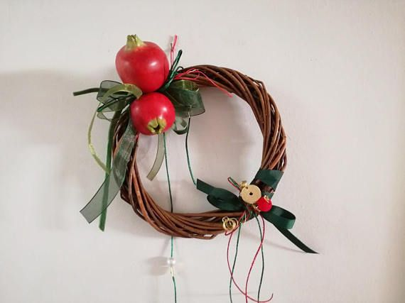 Ceramic pomegranates wreath wicker and pomegranates wreath of