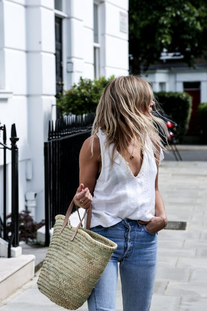 Casual summer look. Love the straw tote.