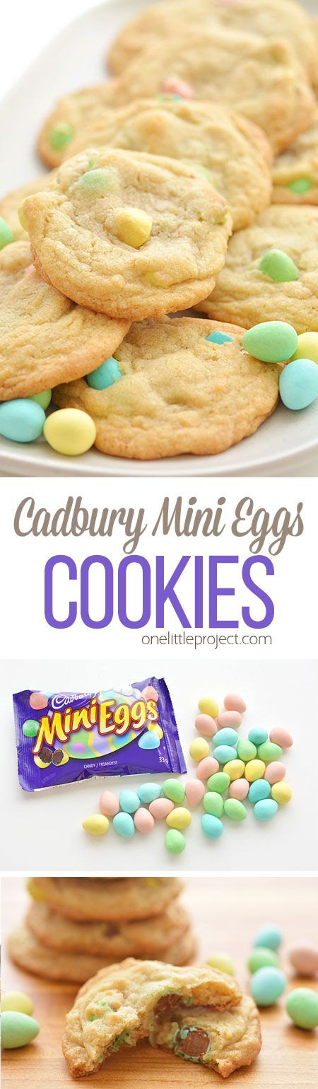 These Cadbury Mini Egg Cookies are SO GOOD. They have a soft and buttery texture and the mini eggs make them taste sooooo good! Completely addictive! (Holiday Baking Desserts)