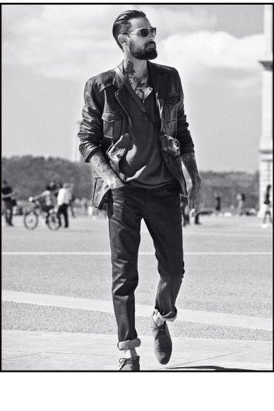 Rocker & Thug style: Beards, Men Clothing, Neck Tattoo, Men Style, This Men, Men Fashion, Men'S Fashion, Leather Jackets, Rocks Style