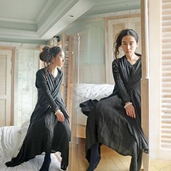 Новый 2015 женщины платье японский литературный смысле нерегулярные большой белье раза подол платье черное платье белье