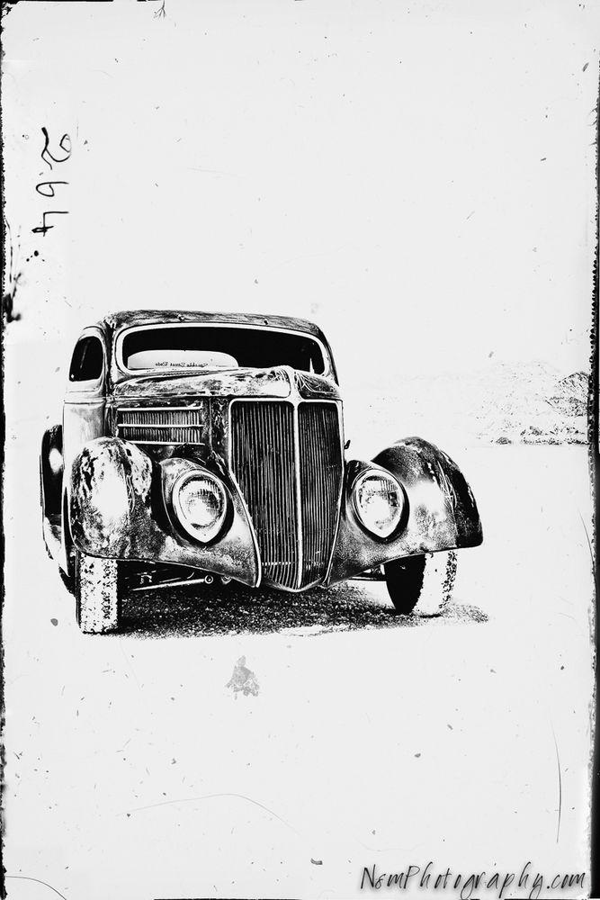 12x18 in. Vintage Hot Rod Ford, Bonneville Salt Flats Garage Art