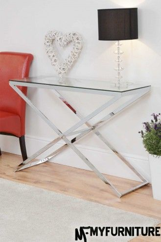Anikka Modern chrome and glass console hallway table