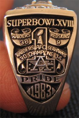 Super Bowl XVIII ring with 38-9 win over the Washington Redskins in Tamp Florida!