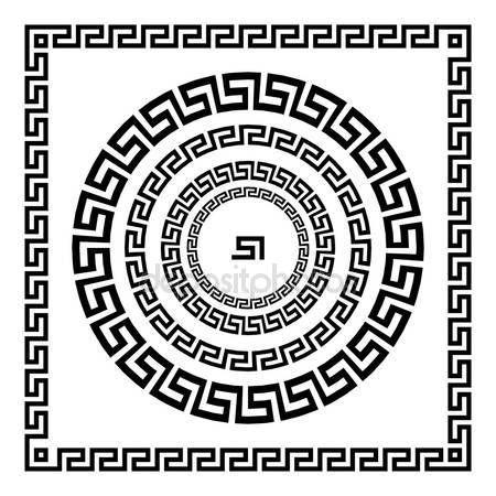 Ornamento greco. Meandro di ornamento del cerchio. Telaio rotondo, Rosetta di elementi antichi. Modello rotondo antico nazionale greca, vector. Impulso rettangolare. confine — Illustrazione stock #122897186