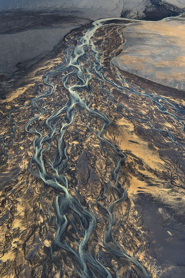 Aerial Iceland  |  River Streaming Through the Colored Sands by Andre Ermolaev