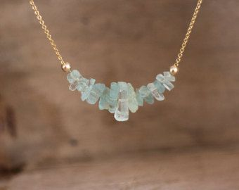 Aquamarine Necklace March BirthstoneAquamarine Bar by AbizaJewelry