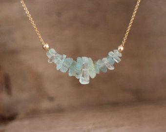 Raw Aquamarine Necklace March Birthstone Raw Stone by inbalmishan