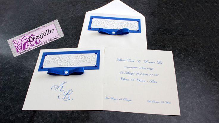 Invito partecipazione nozze blu bianco