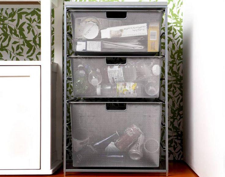 HYLLESYSTEM: Det er mye som kan brukes til søppelhåndtering, om man bare tenker litt utenfor boksen. En vanlig hylle med kurer, som ellers ville blitt brukt til klær eller kontorrekvisita, kan gjøre jobben. Kul å se på er den jo også.