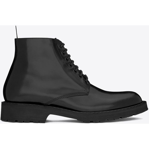 Saint Laurent Army 20 Combat Boot In Black Leather ($795) ❤ liked on Polyvore featuring mens, men's shoes, men's boots ve black