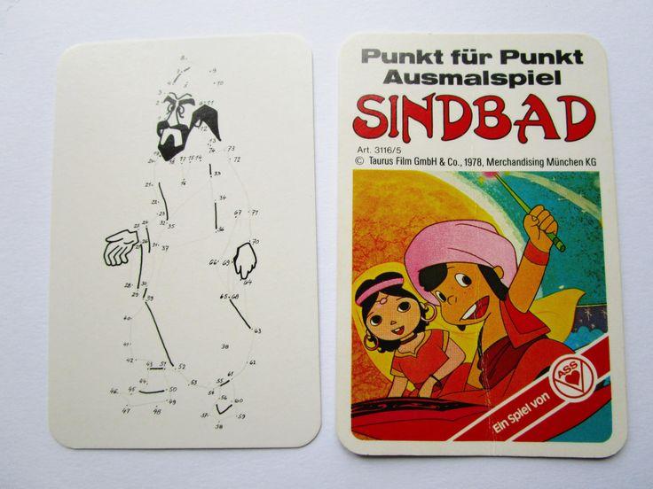Sindbad dot to dot drawing cards German retro card game