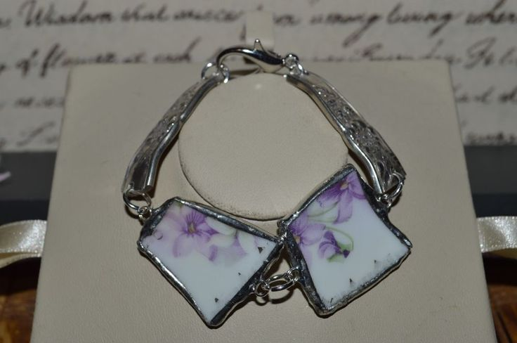 Recycled Broken English China & Flatware Jewelry, Purple Floral Bracelet   #CLyonsDesign #Floral