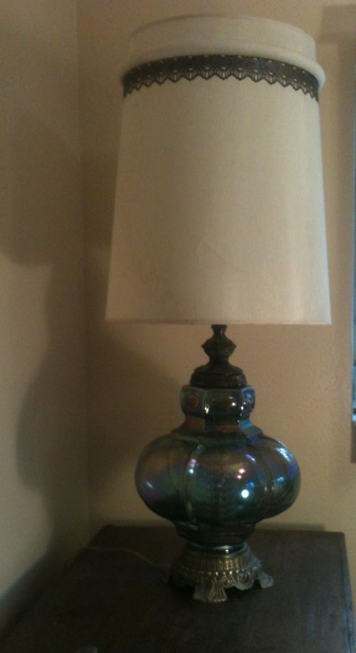 Vintage Falkenstein Blue Carnival Glass Lamp With Night