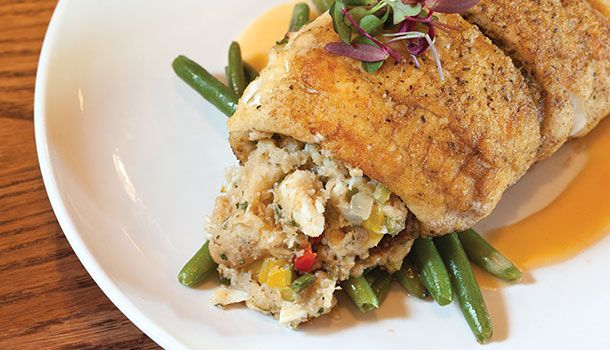 This Louisiana blue crab stuffed flounder is out of this world.