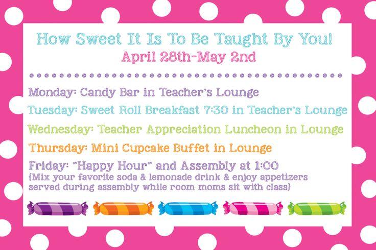 """""""How Sweet it is..."""" Teacher Appreciation Week Schedule (plus """"sweet"""" door decorating ideas) {LOVE!!!}"""