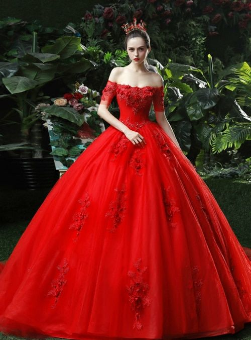 65e2d392f5 Silhouette ball gown Hemline floor length Neckline off the shoulder  Fabric tulle Shown Color red Sleeve Style sleeveless Back Style lace up  Embellishment  ...