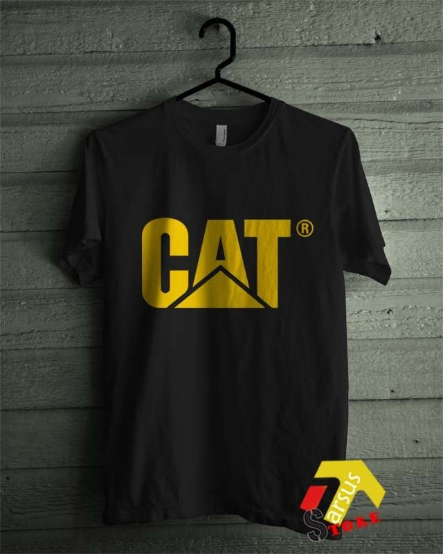 CAT Caterpillar Costruction Logo Emblem Diesel Power Black T-Shirt All Size Shirt