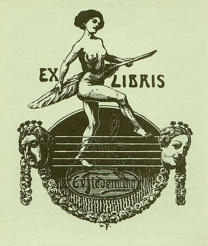Bookplate of E.V. Tiedemann. Artist: V.F. Description: States, 'E.V. Tiedemann;' depicts a nude woman holding a large quill, with musical elements, male and female heads, and a garland of roses. Signed at bottom, 'v.F.' Format: 1 print, black on green paper, 10 x 8 cm. Source: Pratt Institute Libraries Ex Libris Collection, Special Collections 46a (sc00003) Ex-Libris Art. we love books. we love libraries. we love art. www.armadaistanbul.com www.armadaistanbulculture.com