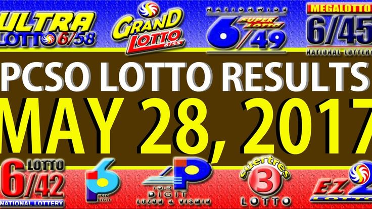 PCSO Lotto Results May 28, 2017 (6/58, 6/49, SWERTRES & EZ2)
