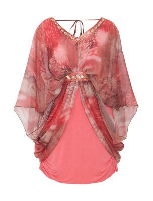 Samya Pink Snake Print Embellished Batwing Tunic plus size