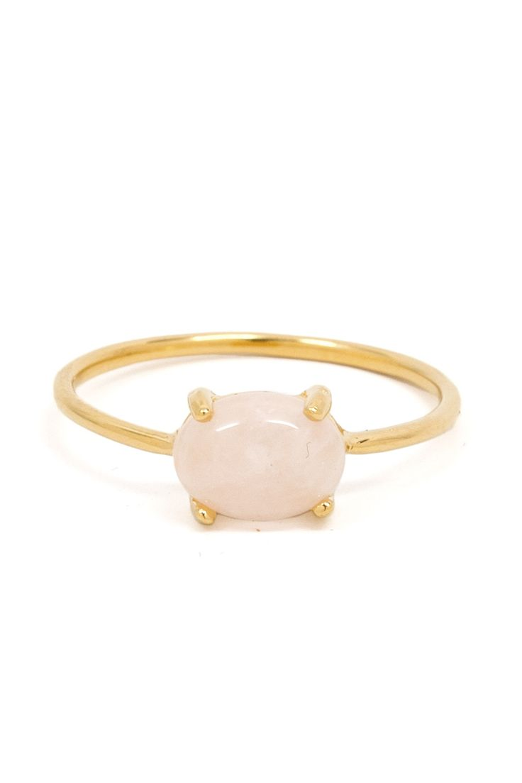 A good statement ring is a jewelry staple and this one is made even better with a single dreamy rose quartz stone.Details: 18k gold vermeil band. Rose quartz.Cindy of La Kaiser Jewelry has lived in Switzerland, Zimbabwe, South Africa, Los Angeles, and Chicago and her experiences have helped shape...
