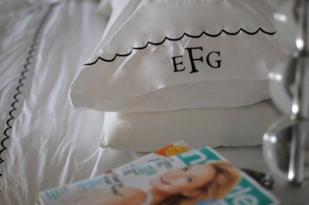 if there are two things i love, it's monogramming and white sheets