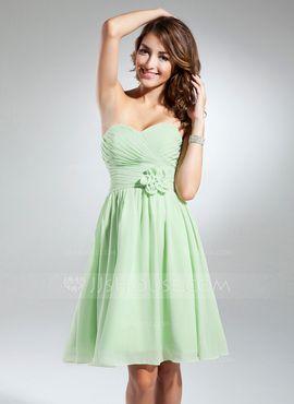 A-Lijn/Prinses Sweetheart Knie-Length Chiffon Schoolgala Jurk met Roes Bloem(En) (022015327)