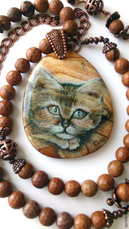 Купить Кулон с росписью на бусах Барханный кот - рыжий, песочный, светло-коричневый, кот, кошка