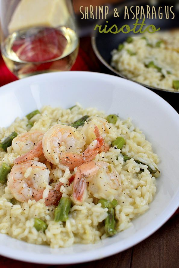 Simple Shrimp and Asparagus Risotto via Iowa Girl Eats; spring asparagus on the horizon