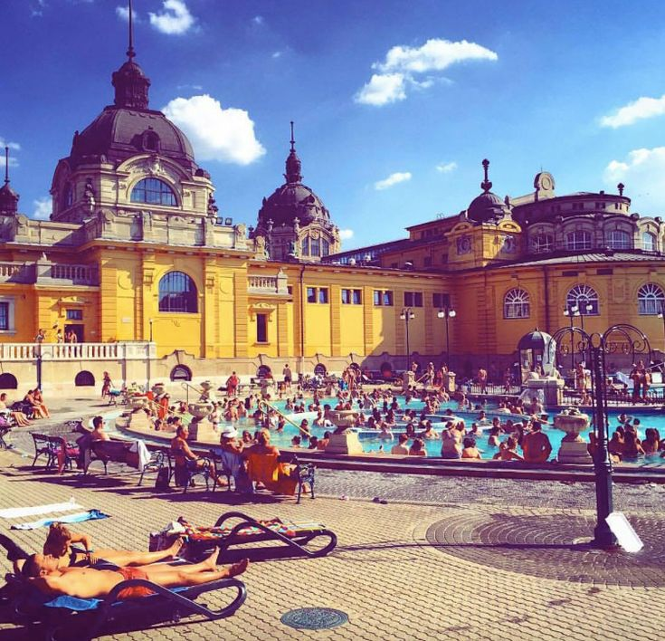 Why Budapest Is the Next Must-Visit City for Design Lovers: Nanushka designer Szandra Sandor gave us such a guide, outlining the very best spots around the city to take a spa break, eat, and of course, shop. -- Szechenyi Bath in Hungary  |  coveteur.com
