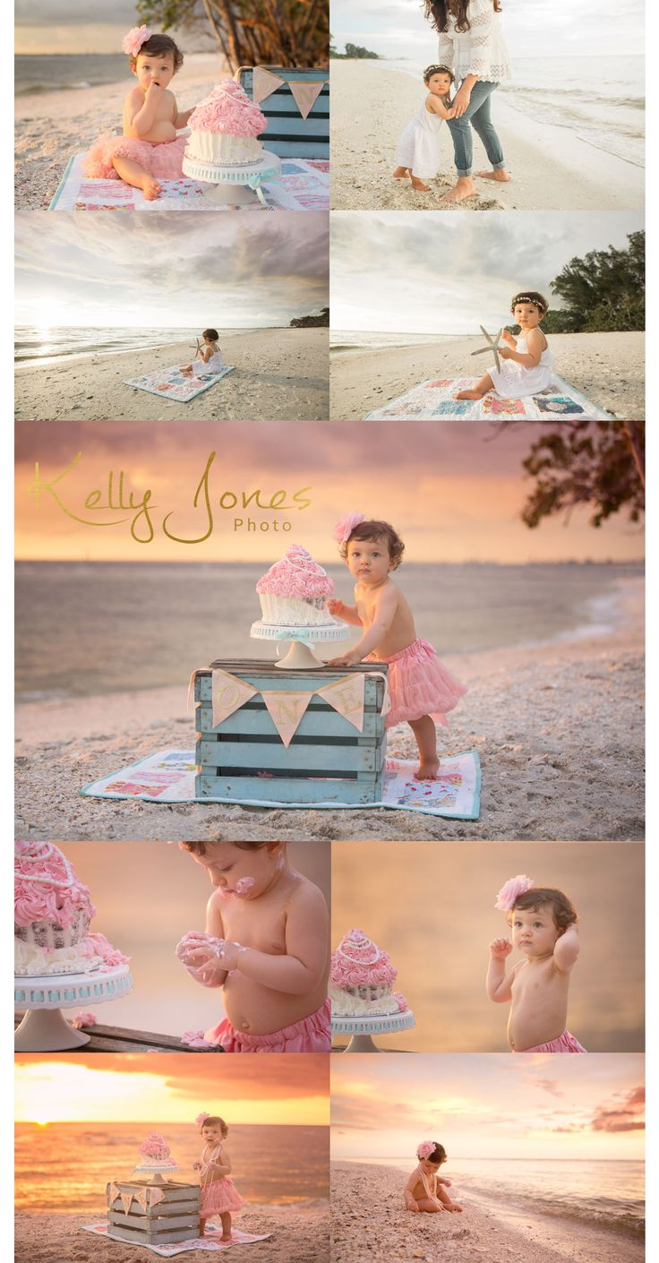 Cake Smash Naples Florida Cake Smash session on the beach at sunset, Photographer Kelly Jones captures an adorable Milestone session on the beaches of FL