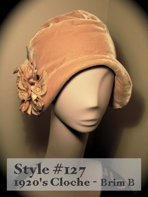 Love the flowers on side of this simple 1920s Cloche Hat.