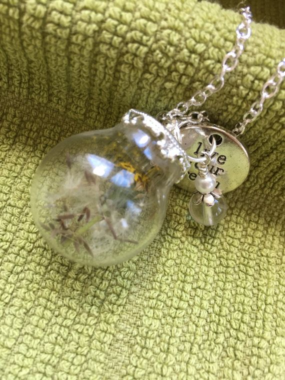 Real Dandelion Glass Globe Pendant with by StarseedCrystalShop