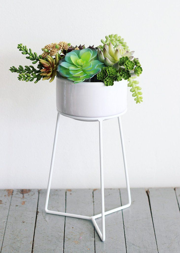 """Round White Ceramic Table Top Plant Stand<br>5.25"""" x 3"""""""