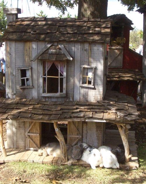 Geen hut voor kinderen, maar een hut voor onze lieve konijntjes! (gemaakt van pallets)
