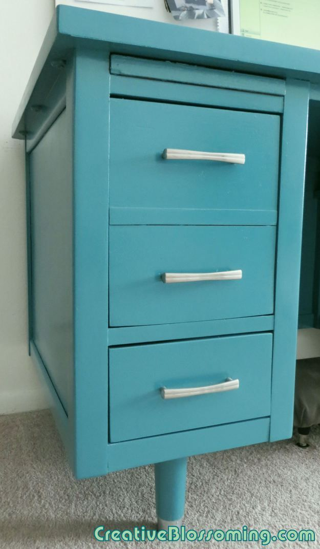 Vintage Wood Tanker Desk Paint Makeover To Teal And Silver DIY Home Office  Silver Drawer Handles