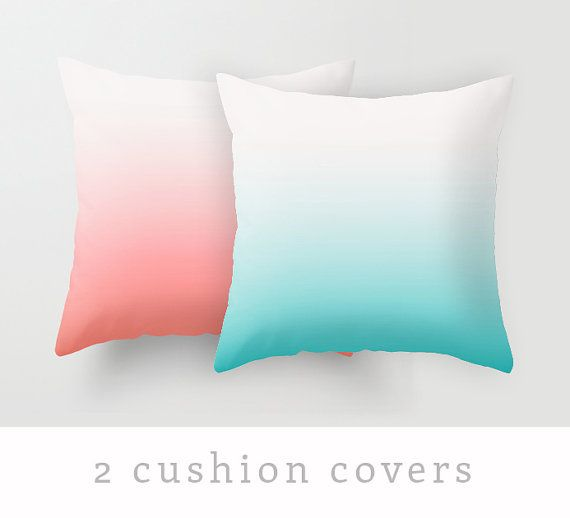 2 teal and coral red cushion covers teal and red by LatteHome