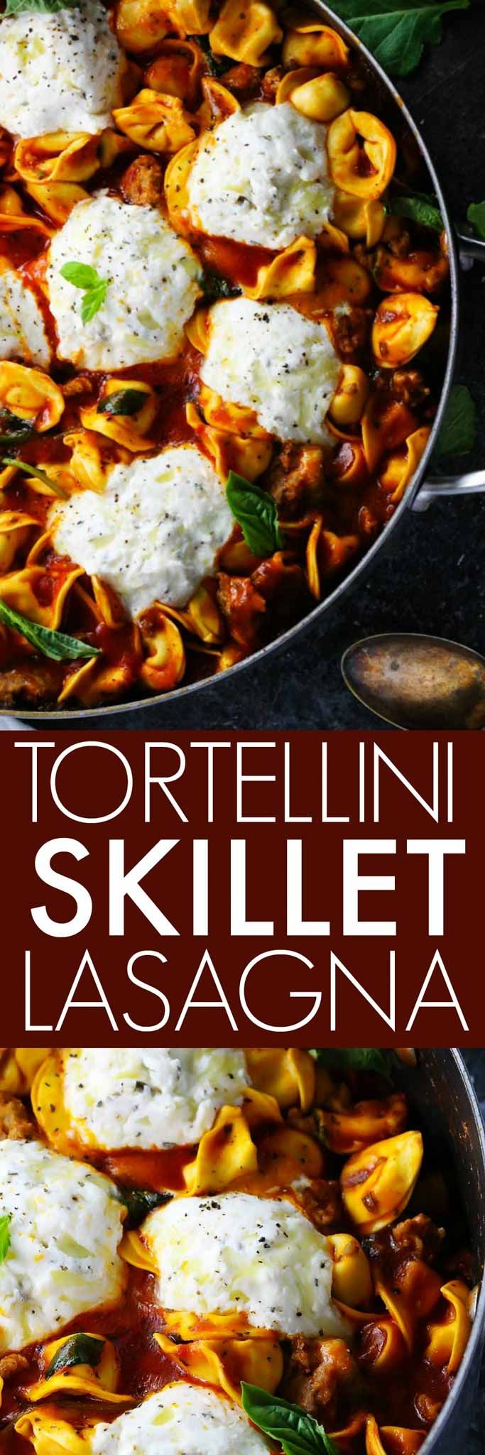 This 20-Minute Tortellini Skillet Lasagna with Sausage & Kale makes it easy to have a delicious and nutritious Italian dinner on the table in a hurry, even on a weeknight. | platingsandpairings.com