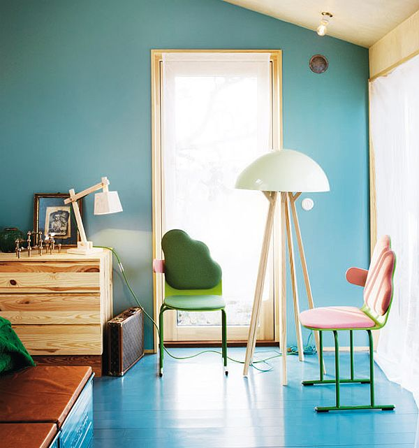 nice chairs: Blue Floor, Blue Wall, Paintings Woods Floors, Wall Color, Interiors Design, House, Paintings Floors, Frida Kahlo, Rooms Color