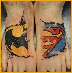 Tatuaje de Batman y Superman