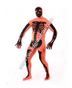 Disfraz de Esqueleto Naranja Morphsuit para adultos #DisfracesOriginales #Carnaval http://casadeldisfraz.com