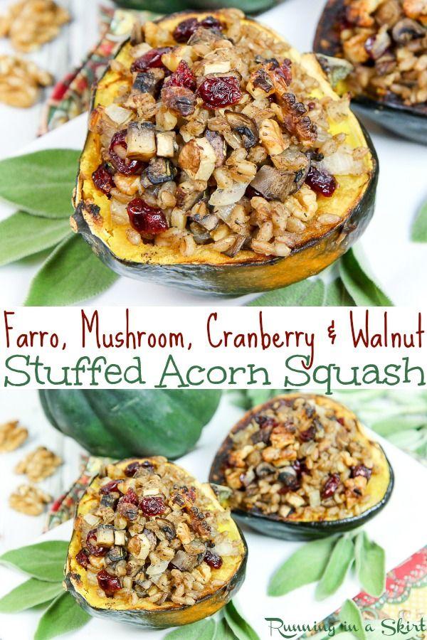 Vegetarian Vegan Stuffed Acorn Squash Recipe Filled With