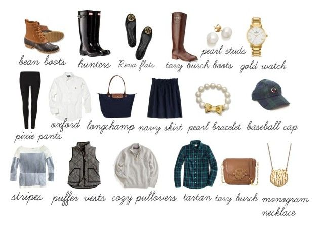 """""""winter preppy essentials"""" by the-southern-prep ❤ liked on Polyvore featuring Tory Burch, L.L.Bean, Hunter, Polo Ralph Lauren, AllSaints, Kate Spade, Vineyard Vines, J.Crew, Longchamp and BaubleBar"""