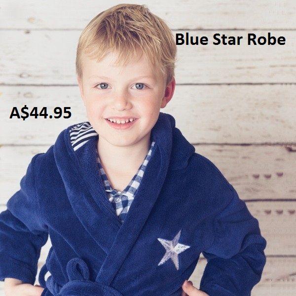 Blue Star Robe By Four In The Bed. #Australian designed boys and girls children's sleepwear by Four in the Bed. Visit @ https://goo.gl/rm3nM0  #Pajamas, #Pyjamas, #Nightwear, #Sleepwear, #Bathrobe, #Dressinggown