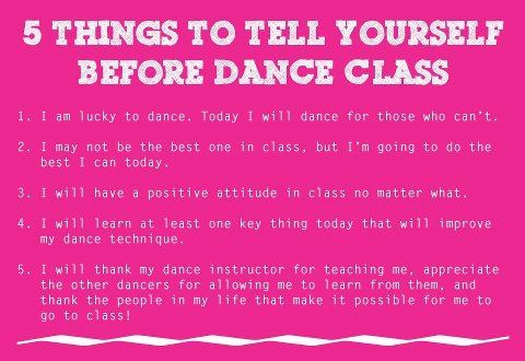 5 Things to tell yourself before dance class